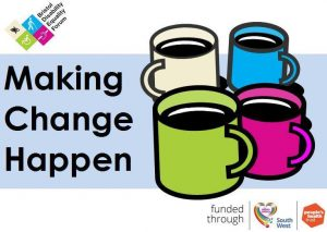 Making Change Happen logo with coffee cups