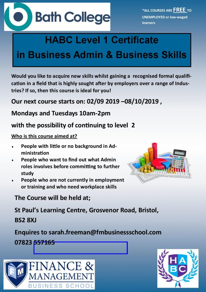 FREE Level 1 Business Administration Courses at St Pauls