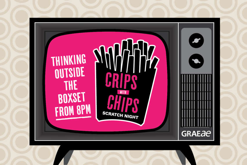 Crips With Chips Scratch Night Thinking Outside the Boxset From 8PM. Logo is the text with a packet of chips in the screen section of a television set.
