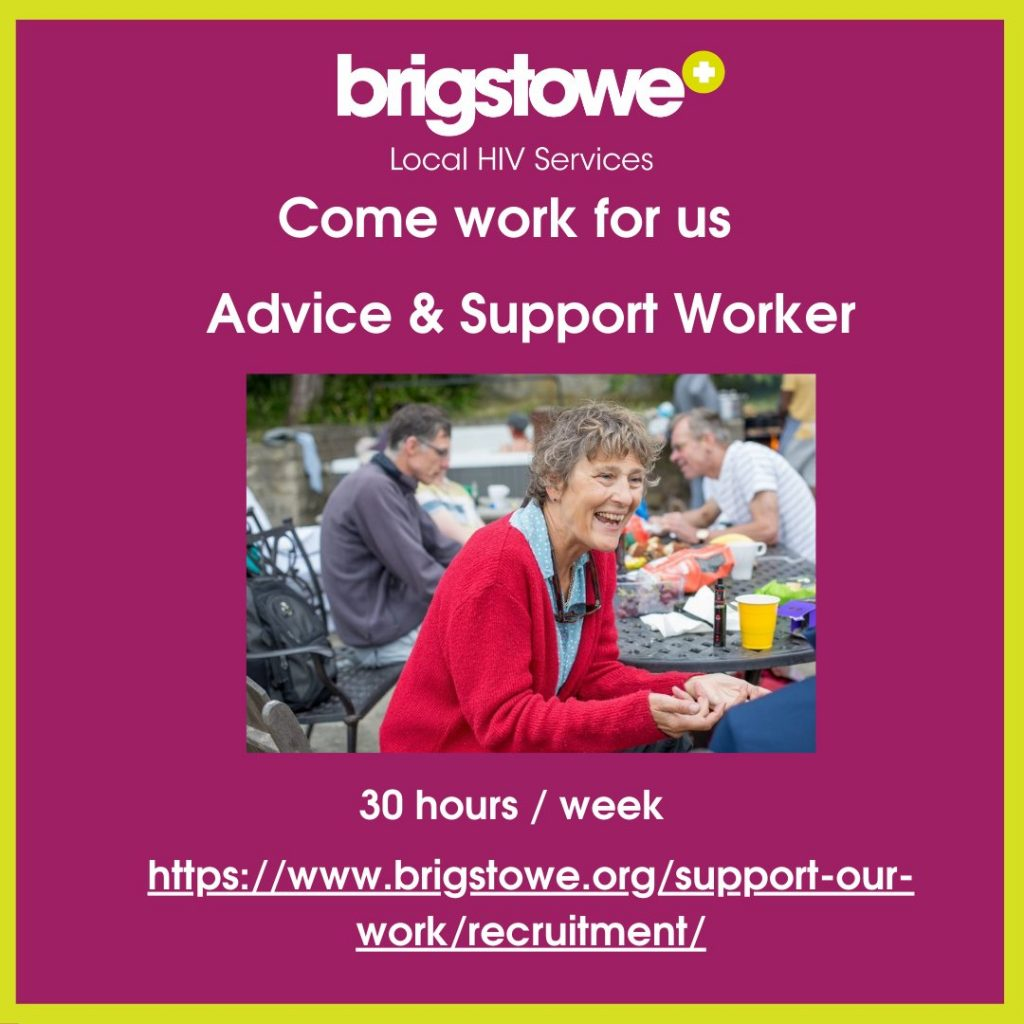 Square graphic in plu colour with yellow border and white text. Brigstowe logo. Image of a woman laughing whilst sitting down. Text reads: Come work for us Advice & Support Worker 30 hours/week and a link to the applicaton webpage.