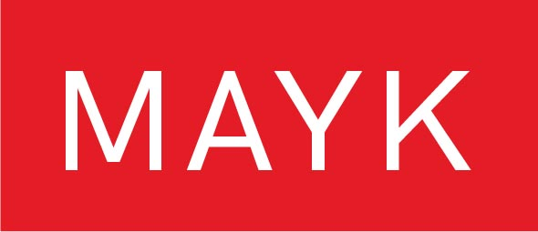 MAYK logo - white text on a red background.