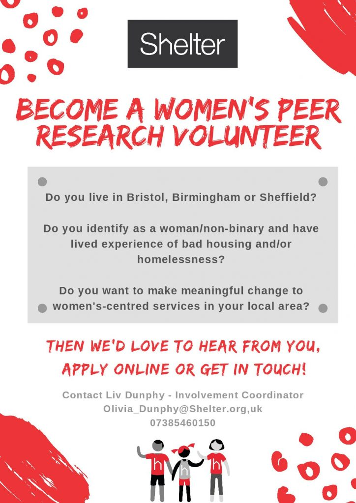 Shelter Become A Women's Peer Research Volunteer Flyer.