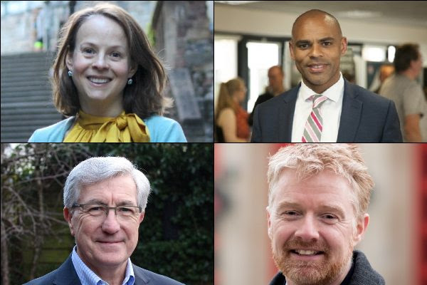 Images of the four main political party candidates for Bristol Mayor. From left to right: Caroline Gooch, Liberal Democrats; Marvin Rees, Labour (and current Mayor of Bristol); Alistair Watson, Conservative and; Sandy Hore-Ruthven, Green.
