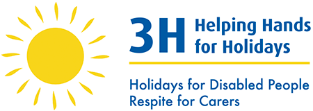 3h Helping Hands for Holidays logo. Image of a bright yellow sun with blue text next to it reading '3H Helping Hands for Holidays' and then a yekllow line and tehn more blue text reading 'Holidays for Disabled People Respite for Carers'.