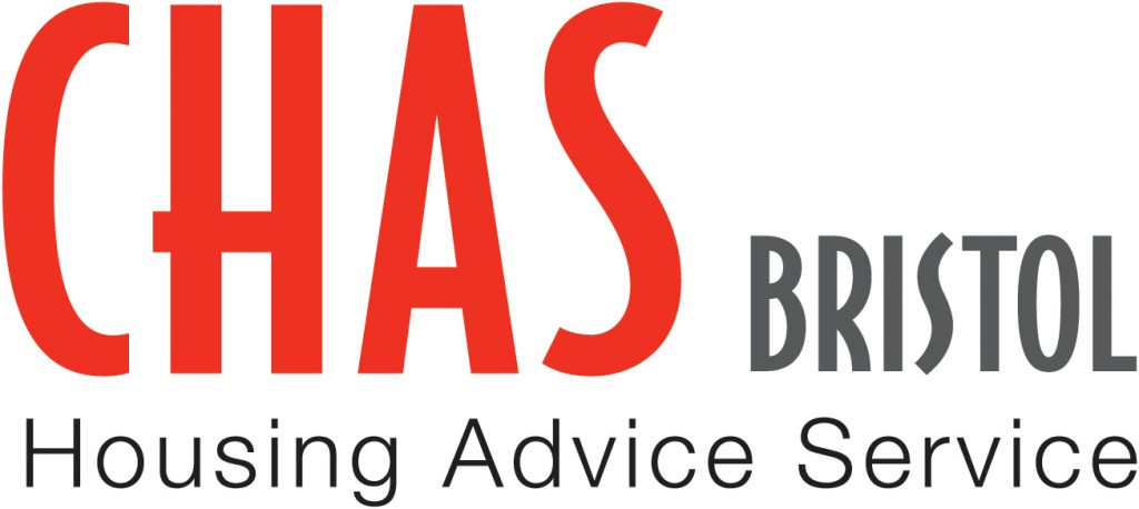 CHAS Bristol logo - whole graphic is made up of text which reads 'CHAS BRISTOL Housing Advice Service'. Most of the text is in black apart from the word 'CHAS' which is in a bright red.