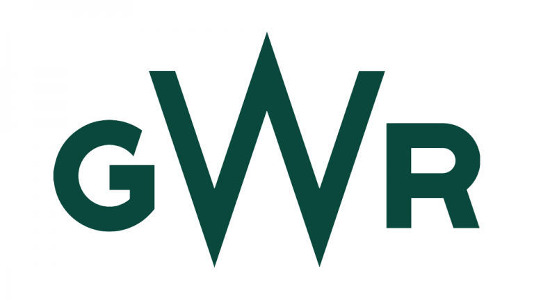Logo for Great Western Railway - black text on a white background that reads 'GWR'.