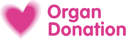 Logo for the NHS Organ Donation Website - image of a blured pink heart next to pink text which reads 'Organ Donation'.