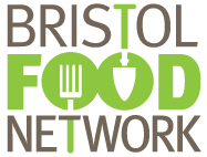 Bristol Food Network logo - black and green text that reads 'Bristol Food Network' with a garden fork and spade in the middle of the two o's of the word 'food'.